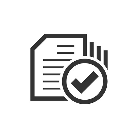 Compliance document icon in flat style. Approved process vector illustration on white isolated background. Checkmark business concept. Illustration
