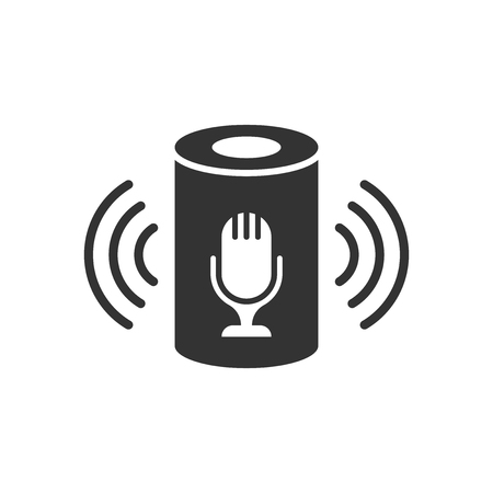 Voice assistant icon in flat style. Smart home assist vector illustration on white isolated background. Command center business concept. Иллюстрация