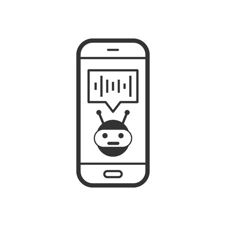Voice assistant on smartphone icon in flat style. Sound record vector illustration on white isolated background. Chat recognition business concept. Illustration
