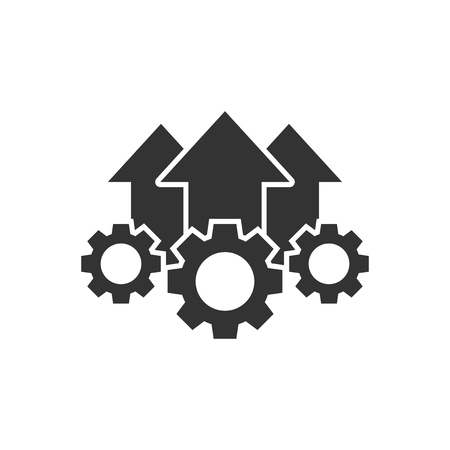 Operation project icon in flat style. Gear process vector illustration on white isolated background. Technology produce business concept.