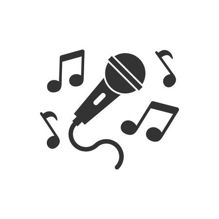 Karaoke-Musikikone im flachen Stil. Mikrofonsprache-Vektorillustration auf weißem lokalisiertem Hintergrund. Geschäftskonzept für Audiogeräte.