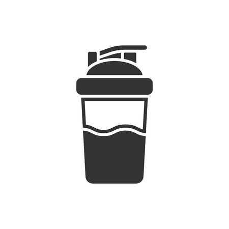 Shaker icon in flat style. Sport bottle vector illustration on white isolated background. Fitness container business concept.
