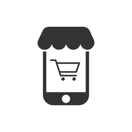 Online shopping icon in flat style. Smartphone store vector illustration on white isolated background. Market business concept. 일러스트
