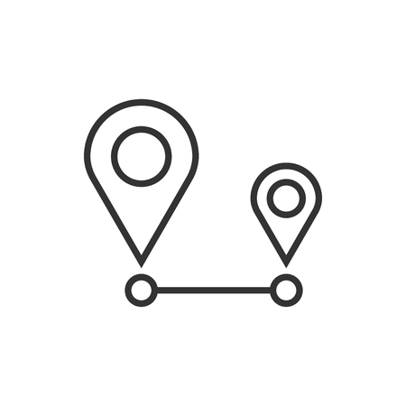 Distance pin icon in flat style. Gps navigation vector illustration on white isolated background. Communication travel business concept.