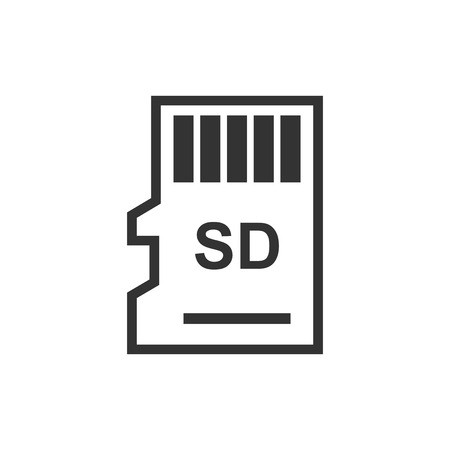 Micro SD card icon in flat style. Memory chip vector illustration on white isolated background. Storage adapter business concept. 일러스트