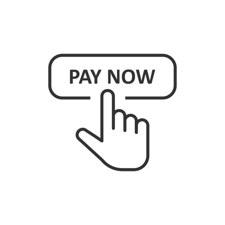 Pay now icon in flat style. Finger cursor vector illustration on white isolated background. Click button business concept.
