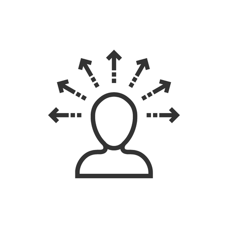 Bewusstseinssymbol im flachen Stil. Idee menschliche Vektor-Illustration auf weißem Hintergrund isoliert. Kundengehirn-Geschäftskonzept. Vektorgrafik