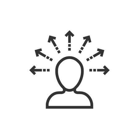 Mind awareness icon in flat style. Idea human vector illustration on white isolated background. Customer brain business concept. Vektoros illusztráció