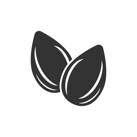 Almond icon in flat style. Bean vector illustration on white isolated background. Nut business concept.