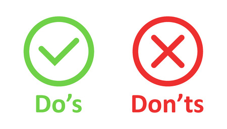 Do's and don'ts sign icon in flat style. Like, unlike vector illustration on white isolated background. Yes, no business concept. Foto de archivo - 124158745