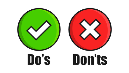 Do's and don'ts sign icon in flat style. Like, unlike vector illustration on white isolated background. Yes, no business concept. Stock Vector - 124158751