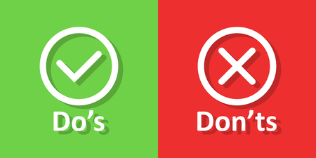 Dos and donts sign icon in flat style. Like, unlike vector illustration on white isolated background. Yes, no business concept. Illustration