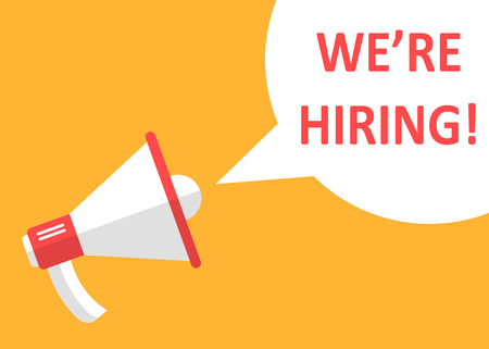 We're hiring icon in flat style. Job vacancy search vector illustration on white isolated background. Megaphone announce business concept.
