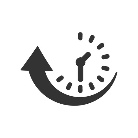 Downtime icon in flat style. Uptime vector illustration on white isolated background. Clock business concept.