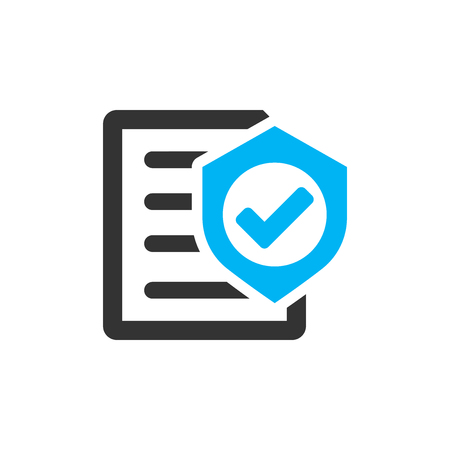 Insurance policy icon in flat style. Report vector illustration on white isolated background. Document business concept. Standard-Bild - 119753096