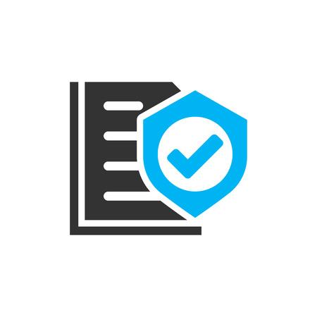 Insurance policy icon in flat style. Report vector illustration on white isolated background. Document business concept.
