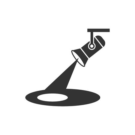 Spotlight-pictogram in platte stijl. Lamp vectorillustratie op witte geïsoleerde achtergrond. Zaklamp bedrijfsconcept.