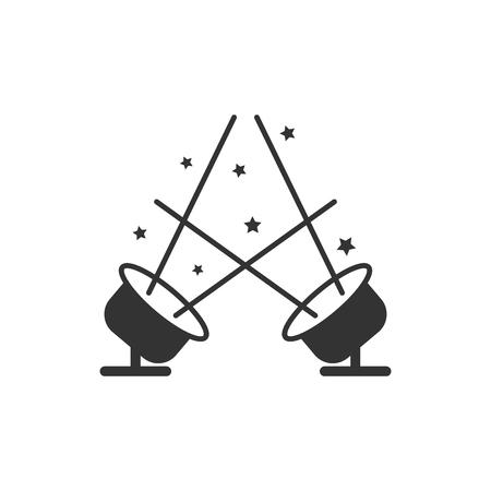 Icono de Spotlight en estilo plano. Ilustración de vector de lámpara sobre fondo blanco aislado. Concepto de negocio de linterna. Ilustración de vector