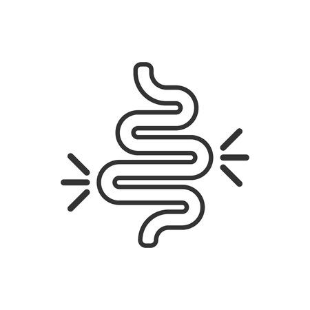 Darmverstopfungssymbol im flachen Stil. Colitis-Vektor-Illustration auf weißem Hintergrund isoliert. Magen-Business-Konzept. Vektorgrafik