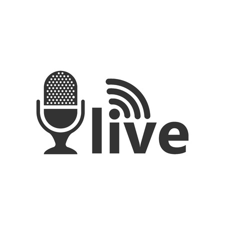 Microphone icon in flat style. Live broadcast vector illustration on white isolated background. Sound record business concept.