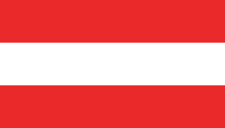 Austria flag icon in flat style. National sign vector illustration. Politic business concept. Ilustrace