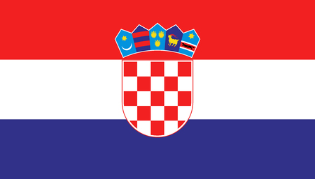 Croatia flag icon in flat style. National sign vector illustration. Politic business concept. Stock Vector - 120891497