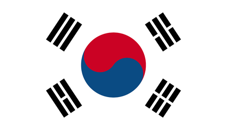 South Korea flag icon in flat style. National sign vector illustration. Politic business concept.