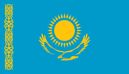 Kazakhstan flag icon in flat style. National sign vector illustration. Politic business concept. 向量圖像
