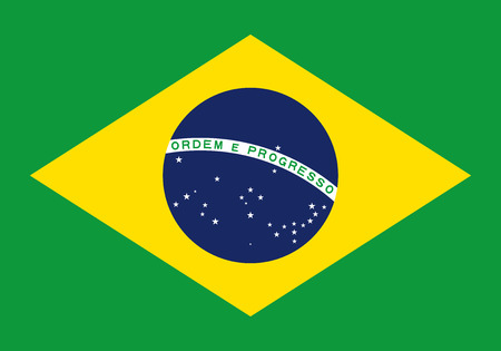 Brazil flag icon in flat style. National sign vector illustration. Politic business concept. Vector Illustration