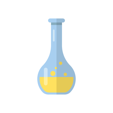 Chemistry beakers sign icon in flat style. Flask test tube vector illustration on white isolated background. Alchemy business concept.