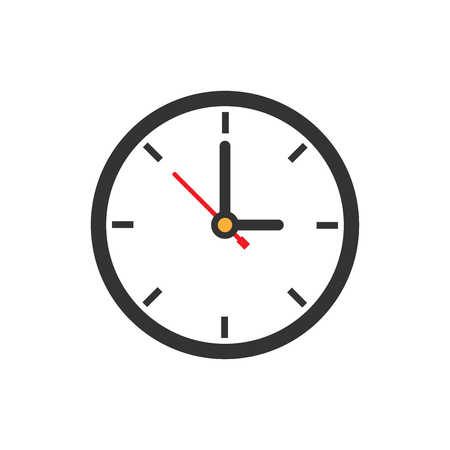 Clock sign icon in flat style. Time management vector illustration on white isolated background. Timer business concept. Векторная Иллюстрация