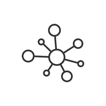 Hub network connection sign icon in flat style. Dna molecule vector illustration on white isolated background. Atom business concept.
