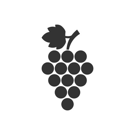 Grape fruits sign icon in flat style. Grapevine vector illustration on white isolated background. Wine grapes business concept. Illustration