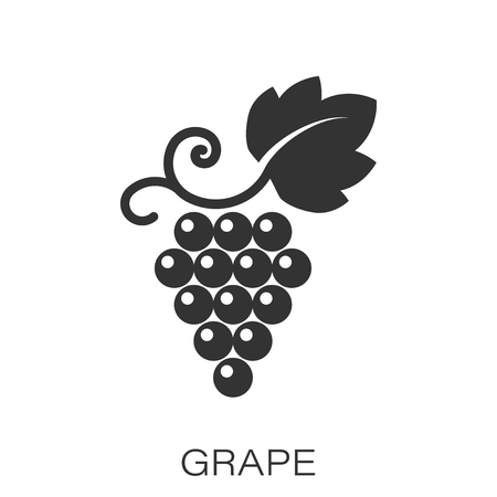 Grape fruits sign icon in flat style. Grapevine vector illustration on white isolated background. Wine grapes business concept.  イラスト・ベクター素材
