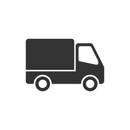Delivery truck sign icon in flat style. Van vector illustration on white isolated background. Cargo car business concept.