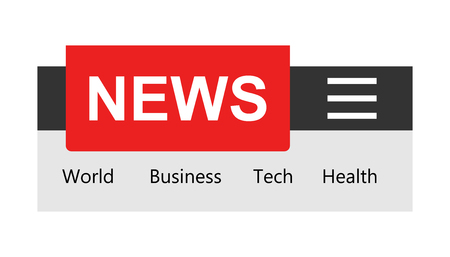 News template sign icon in flat style. Website newsletter vector illustration on white isolated background. Smartphone banner business concept.