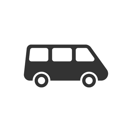 Passenger minivan sign icon in flat style. Car bus vector illustration on white isolated background. Delivery truck banner business concept.