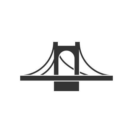 Bridge sign icon in flat style. Drawbridge vector illustration on white isolated background. Road business concept.