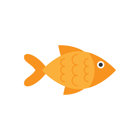 Fish sign icon in flat style. Goldfish vector illustration on white isolated background. Seafood business concept. Illustration