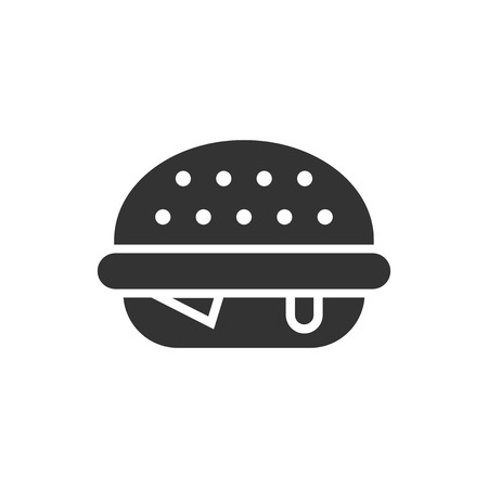 Burger sign icon in flat style. Hamburger vector illustration on white isolated background. Cheeseburger business concept.