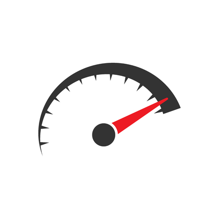 Speedometer level sign icon in flat style. Accelerate vector illustration on white isolated background. Motion tachometer business concept. Çizim