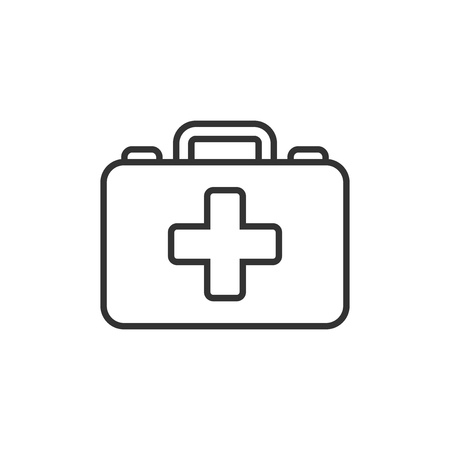 First aid kit icon in flat style. Health, help and medical diagnostics vector illustration on white isolated background. Doctor bag business concept. Ilustração