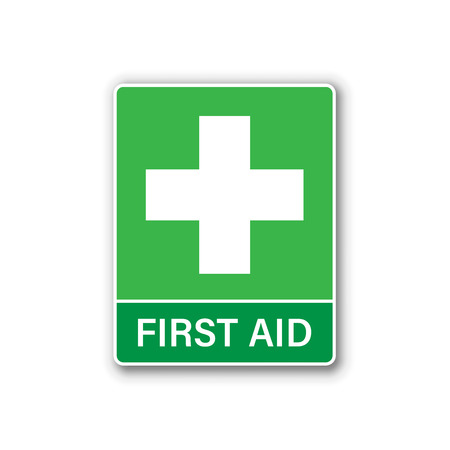 First aid sign icon in flat style. Health, help and medical vector illustration on white isolated background. Hospital business concept.