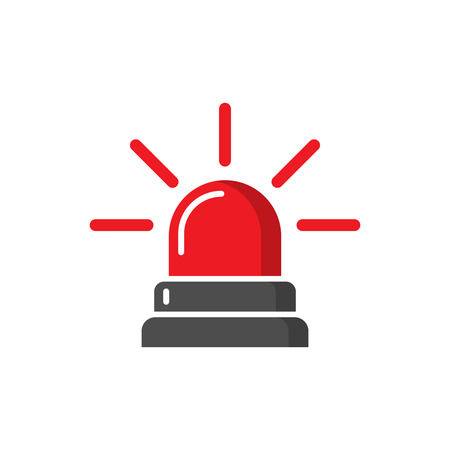 Emergency siren icon in flat style. Police alarm vector illustration on white isolated background. Medical alert business concept.