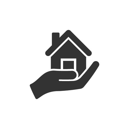 Home care icon in flat style. Hand hold house vector illustration on white isolated background. Building quality business concept.