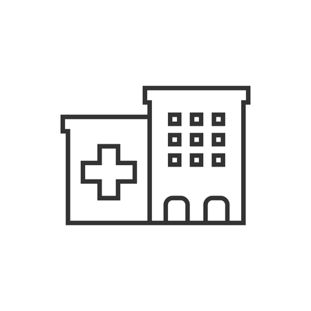 Hospital building icon in flat style. Infirmary vector illustration on white isolated background. Medical ambulance business concept.