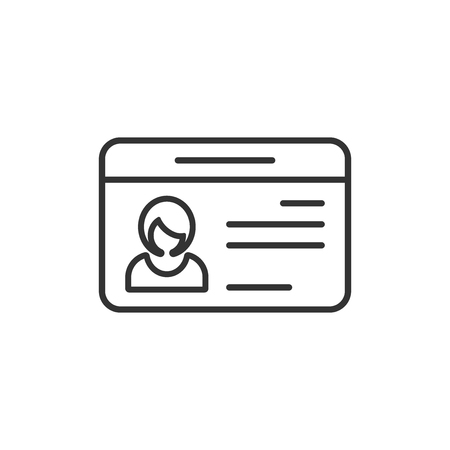 Id card icon in flat style. Identity tag vector illustration on white isolated background. Driver licence business concept.
