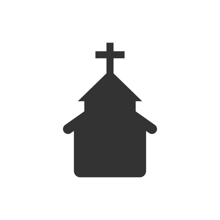 Church icon in flat style. Chapel vector illustration on white isolated background. Religious building business concept.
