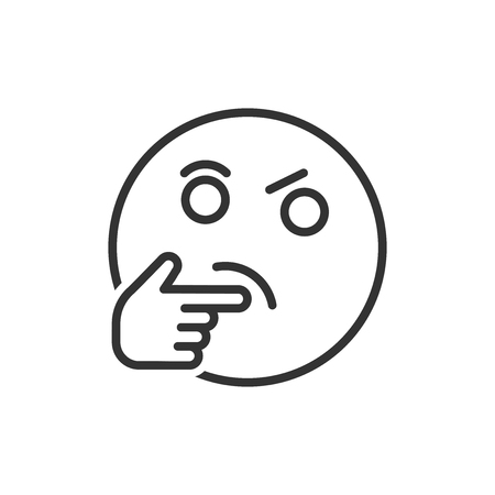 Thinking face icon in flat style. Smile emoticon vector illustration on white isolated background. Character business concept.  イラスト・ベクター素材