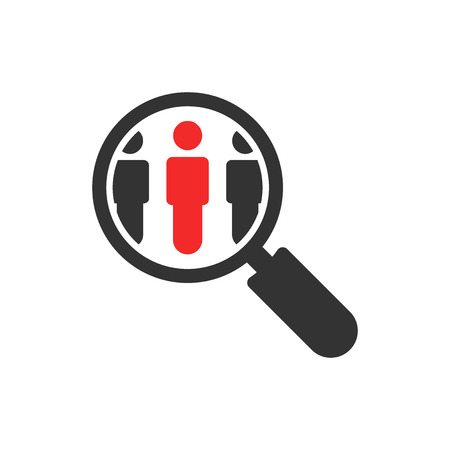 Search job vacancy icon in flat style. Loupe career vector illustration on white isolated background. Find people employer business concept. Ilustrace
